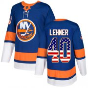 Wholesale Cheap Adidas Islanders #40 Robin Lehner Royal Blue Home Authentic USA Flag Stitched NHL Jersey