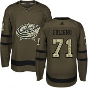 Wholesale Cheap Adidas Blue Jackets #71 Nick Foligno Green Salute to Service Stitched Youth NHL Jersey