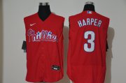 Wholesale Cheap Men's Philadelphia Phillies #3 Bryce Harper Red 2020 Cool and Refreshing Sleeveless Fan Stitched Flex Nike Jersey