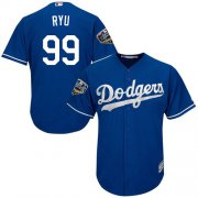 Wholesale Cheap Dodgers #99 Hyun-Jin Ryu Blue Cool Base 2018 World Series Stitched Youth MLB Jersey
