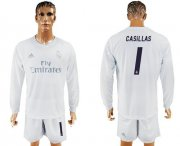 Wholesale Cheap Real Madrid #1 I.Casillas Marine Environmental Protection Home Long Sleeves Soccer Club Jersey