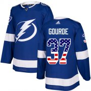 Wholesale Cheap Adidas Lightning #37 Yanni Gourde Blue Home Authentic USA Flag Stitched NHL Jersey