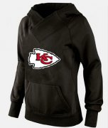 Wholesale Cheap Women's Kansas City Chiefs Logo Pullover Hoodie Black