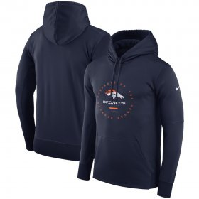 Wholesale Cheap Denver Broncos Nike Sideline Property Of Wordmark Logo Performance Pullover Hoodie Navy