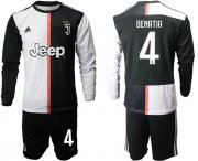 Wholesale Cheap Juventus #4 Benatia Home Long Sleeves Soccer Club Jersey