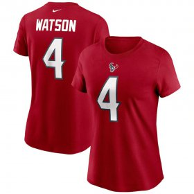 Wholesale Cheap Houston Texans #4 Deshaun Watson Nike Women\'s Team Player Name & Number T-Shirt Red