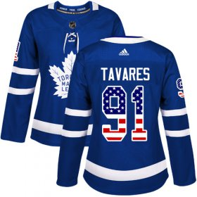 Wholesale Cheap Adidas Maple Leafs #91 John Tavares Blue Home Authentic USA Flag Women\'s Stitched NHL Jersey