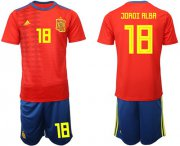 Wholesale Cheap Spain #18 Jordi Alba Home Soccer Country Jersey