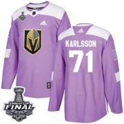 Wholesale Cheap Adidas Golden Knights #71 William Karlsson Purple Authentic Fights Cancer 2018 Stanley Cup Final Stitched NHL Jersey
