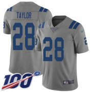 Wholesale Cheap Nike Colts #28 Jonathan Taylor Gray Youth Stitched NFL Limited Inverted Legend 100th Season Jersey