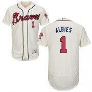 Wholesale Cheap Braves #1 Ozzie Albies Cream Flexbase Authentic Collection Stitched MLB Jersey