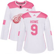 Wholesale Cheap Adidas Red Wings #9 Gordie Howe White/Pink Authentic Fashion Women's Stitched NHL Jersey