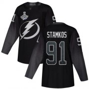 Cheap Adidas Lightning #91 Steven Stamkos Black Alternate Authentic 2020 Stanley Cup Champions Stitched NHL Jersey