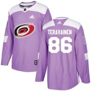 Wholesale Cheap Adidas Hurricanes #86 Teuvo Teravainen Purple Authentic Fights Cancer Stitched Youth NHL Jersey