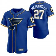 Wholesale Cheap St. Louis Blues #27 Alex Pietrangelo Men's 2020 NHL x MLB Crossover Edition Baseball Jersey Blue
