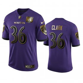 Wholesale Cheap Baltimore Ravens #36 Chuck Clark Men\'s Nike Purple Team 25th Season Golden Limited NFL Jersey