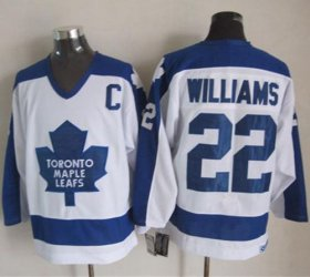 Wholesale Maple Leafs #22 Tiger Williams White/Blue CCM Throwback Stitched NHL Jersey