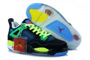 Wholesale Cheap Air Jordan 4 Womens Shoes black/gamma blue-yellow