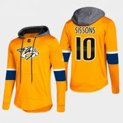 Wholesale Cheap Predators #10 Colton Sissons Gold 2018 Pullover Platinum Hoodie