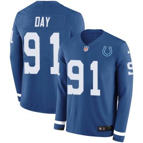 Wholesale Cheap Nike Colts #91 Sheldon Day Royal Blue Team Color Youth Stitched NFL Limited Therma Long Sleeve Jersey