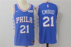 Wholesale Cheap Men\'s Philadelphia 76ers #21 Joel Embiid New Royal Blue 2017-2018 Nike Swingman Stitched NBA Jersey