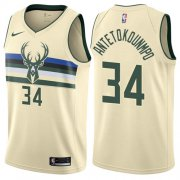 Wholesale Cheap Nike Bucks #34 Giannis Antetokounmpo Cream NBA Swingman City Edition Jersey