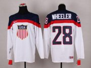 Wholesale Cheap 2014 Olympic Team USA #28 Blake Wheeler White Stitched NHL Jersey