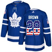 Wholesale Cheap Adidas Maple Leafs #28 Connor Brown Blue Home Authentic USA Flag Stitched NHL Jersey