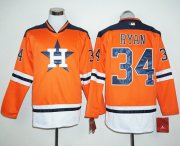 Wholesale Cheap Astros #34 Nolan Ryan Orange Long Sleeve Stitched MLB Jersey