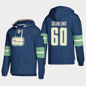 Wholesale Cheap Vancouver Canucks #60 Markus Granlund Blue adidas Lace-Up Pullover Hoodie