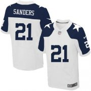 Wholesale Cheap Nike Cowboys #21 Deion Sanders White Thanksgiving Men's Stitched NFL Throwback Elite Jersey