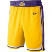 Wholesale Cheap Men's Los Angeles Lakers Yellow 2019 Nike Swingman Stitched NBA Shorts