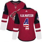 Wholesale Cheap Adidas Coyotes #4 Niklas Hjalmarsson Maroon Home Authentic USA Flag Women's Stitched NHL Jersey