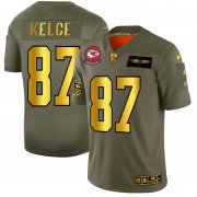 Wholesale Cheap Kansas City Chiefs #87 Travis Kelce NFL Men's Nike Olive Gold 2019 Salute to Service Limited Jersey