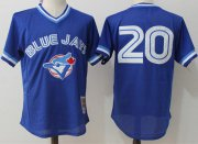 Wholesale Cheap Mitchell And Ness Blue Jays #20 Josh Donaldson Blue Throwback Stitched MLB Jersey