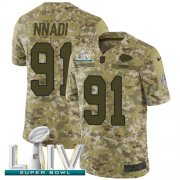 Wholesale Cheap Nike Chiefs #91 Derrick Nnadi Camo Super Bowl LIV 2020 Youth Stitched NFL Limited 2018 Salute To Service Jersey