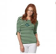 Wholesale Cheap New York Jets Lady Striped Boatneck Three-Quarter Sleeve T-Shirt