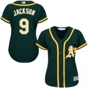 Wholesale Cheap Athletics #9 Reggie Jackson Green Alternate Women's Stitched MLB Jersey
