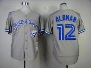 Wholesale Cheap Mitchell And Ness Blue Jays #12 Roberto Alomar Grey Stitched MLB Throwback Jersey