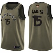Wholesale Cheap Raptors #15 Vince Carter Green Salute to Service 2019 Finals Bound Basketball Swingman Jersey