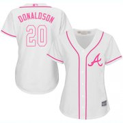 Wholesale Cheap Braves #20 Josh Donaldson White/Pink Fashion Women's Stitched MLB Jersey