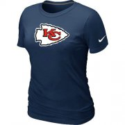 Wholesale Cheap Women's Nike Kansas City Chiefs Logo NFL T-Shirt Dark Blue
