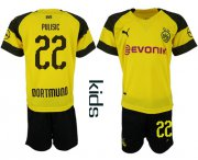 Wholesale Cheap Dortmund #22 Pulisic Home Kid Soccer Club Jersey