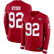 Wholesale Cheap Nike 49ers #92 Kerry Hyder Red Team Color Youth Stitched NFL Limited Therma Long Sleeve Jersey