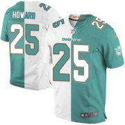 Wholesale Cheap Nike Dolphins #25 Xavien Howard Aqua Green/White Men's Stitched NFL Elite Split Jersey