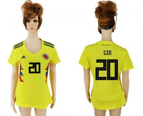 Wholesale Cheap Women\'s Colombia #20 G.Moreno Home Soccer Country Jersey