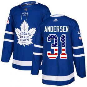 Wholesale Cheap Adidas Maple Leafs #31 Frederik Andersen Blue Home Authentic USA Flag Stitched Youth NHL Jersey