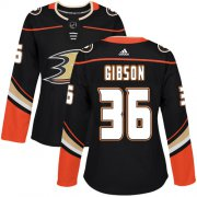 Wholesale Cheap Adidas Ducks #36 John Gibson Black Home Authentic Women's Stitched NHL Jersey