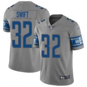 Wholesale Cheap Nike Lions #32 D\'Andre Swift Gray Youth Stitched NFL Limited Inverted Legend Jersey