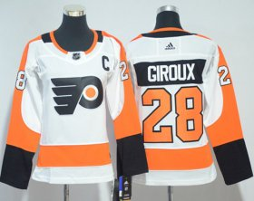 Wholesale Cheap Adidas Flyers #28 Claude Giroux White Road Authentic Women\'s Stitched NHL Jersey